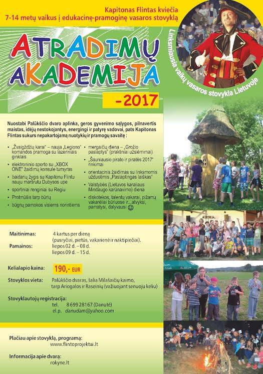 """Vaikų vasaros stovykla """"Atradimų akademija – 2017"""""""