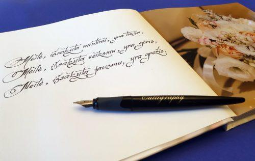 Kaligrafinis rašymas , rašymas ranka